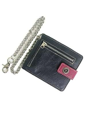 【ベルト専門店のBelton】ファスナーデザインのウォレットチェーン付き二つ折り財布 アンストレイン ブラック