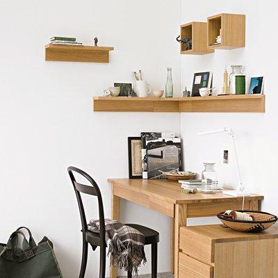 無印良品 壁に付けられる家具・棚・幅44cm・オーク材 幅44×奥行12×高さ10cm