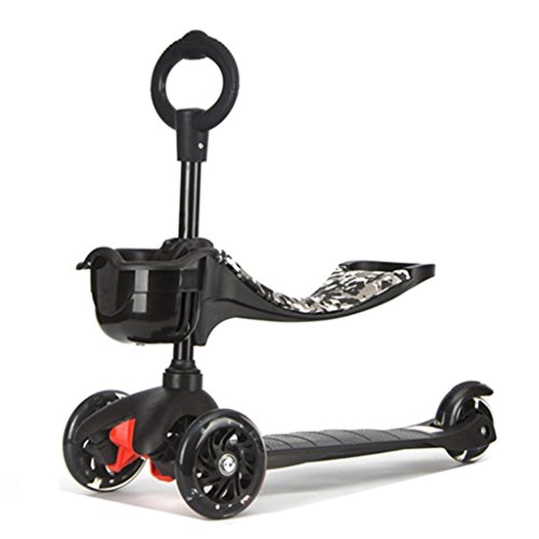 スクーター子供たち多機能折りたたみ式リフト3輪ペダル乗り物ブロックが点滅するホイールは3?15歳の黒を座ることができます