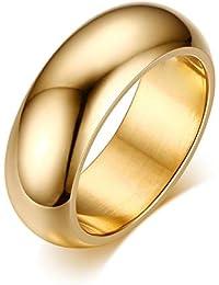 Rockyu ジュエリー ブランド 甲丸 指輪 メンズ ゴールドリング シンプル 18号 軽い 中空 ファッション アクセサリー