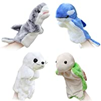 (4pcs-Sea Animals) - Merveilleux 4pcs Animal Hand Puppets for Kids Plush Toys Storytelling Game Props Interactive Toys--Sea Animals