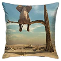 Maxpowerful 象 休憩 木の上 後ろ姿 クッションカバー 抱き枕カバー 装飾枕カバー 幾何学的 印刷両面 おしゃれ 45×45cm
