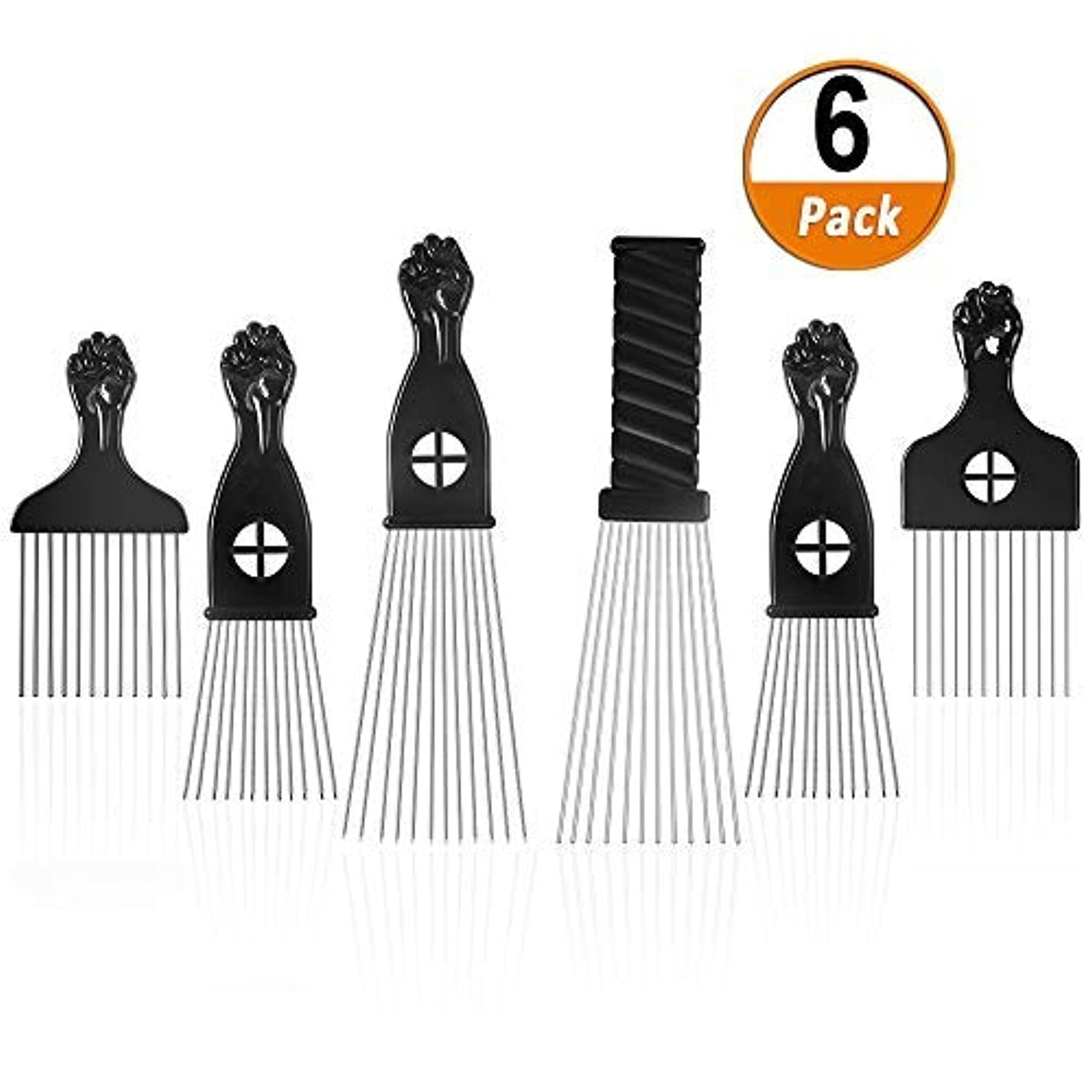 辛い伸ばす同様にAfro Pick 6 Pack Metal African American Afro Hair Comb Hairdressing Styling Tool Hair Pick with Black Fist [並行輸入品]