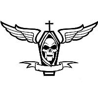 Coffin with Wings and Skull車デカールステッカー、ダイカットビニールデカール、for Windows車、トラック、ツールボックス、ノートパソコン、macbook-virtually Anyハード滑らかな表面 6 Inch グレイ ELKS-120948-Light-Blue-6-Inch