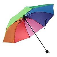梅雨対策 折りたたみ傘 ワンタッチ自動開閉 虹色 防風 反紫外線 3つ折り 伸縮シャフト 12本骨 晴雨兼用