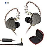 Andiker KZ ZSN-C Pro Quad Driver Earphones DD+BA High Resolution Hybrid Driver Electronic Crossover Headset, Detachable Cable Heavy Bass Earbuds Profeesional Earphones with Storage Box(Mic, Grey)