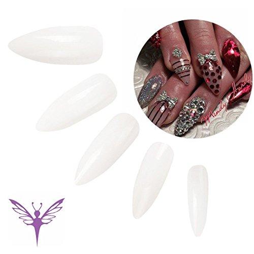 エジューバス Ejiubas つけ爪 無地 ロング ネイルチップ クリア ネイルチップ ロング 500枚入れ 10サイズ 爪にピッタリ 付け爪 練習用 透明 シャープポイント型