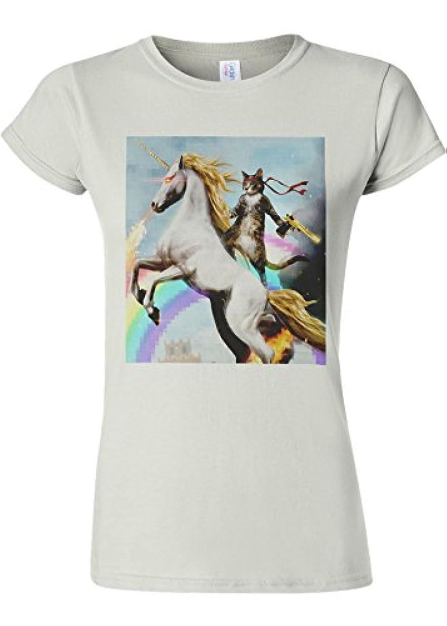 裁判官形組み立てるCrazy Cat Unicorn Rainbow Novelty White Women T Shirt Top-XXL