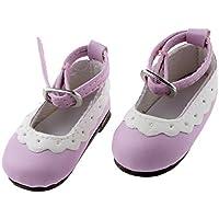 Dovewill PUレザー製 靴 シューズ ラウンド トウ フラット アンクル ストラップ 1/4 BJD 人形用 アクセサリー 贈り物 全10色  - ライトパープル