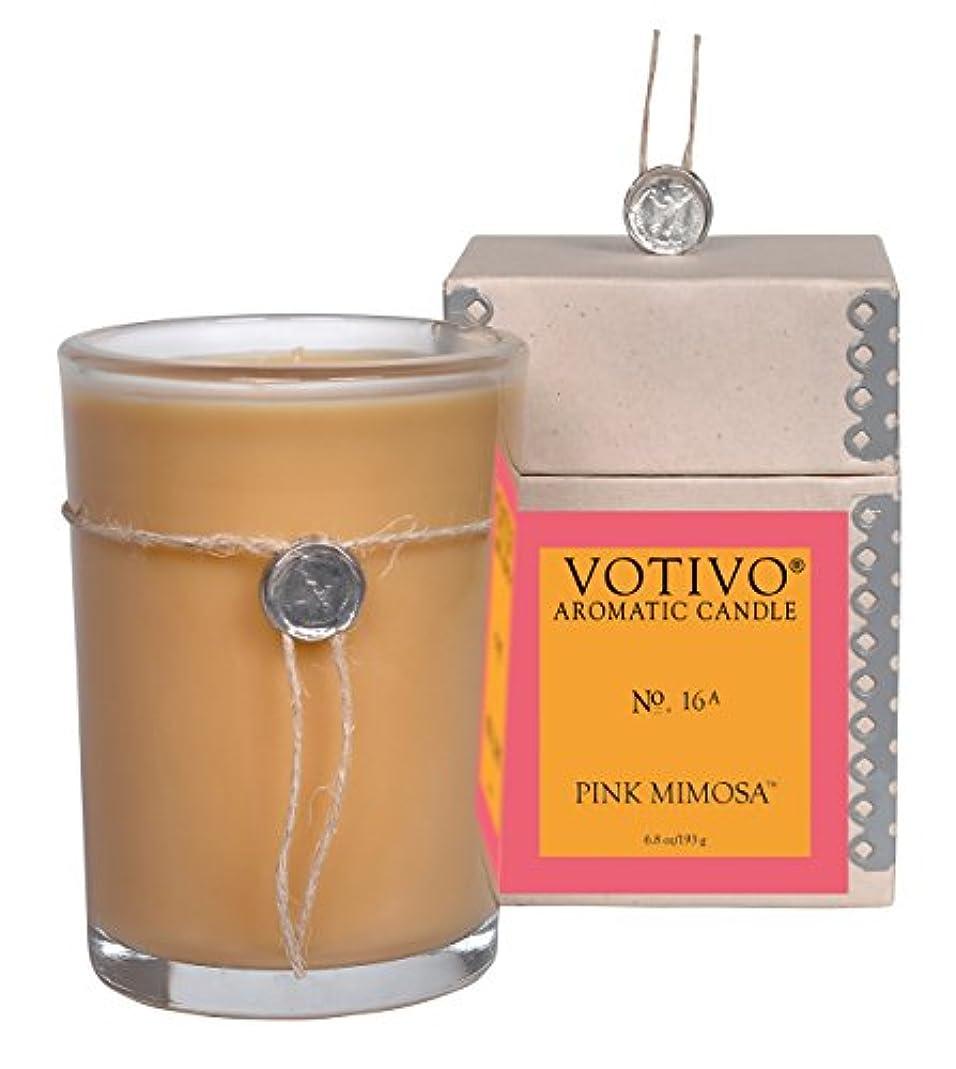 観光に行く同意最初VOTIVO アロマティック グラスキャンドル ピンクミモザ