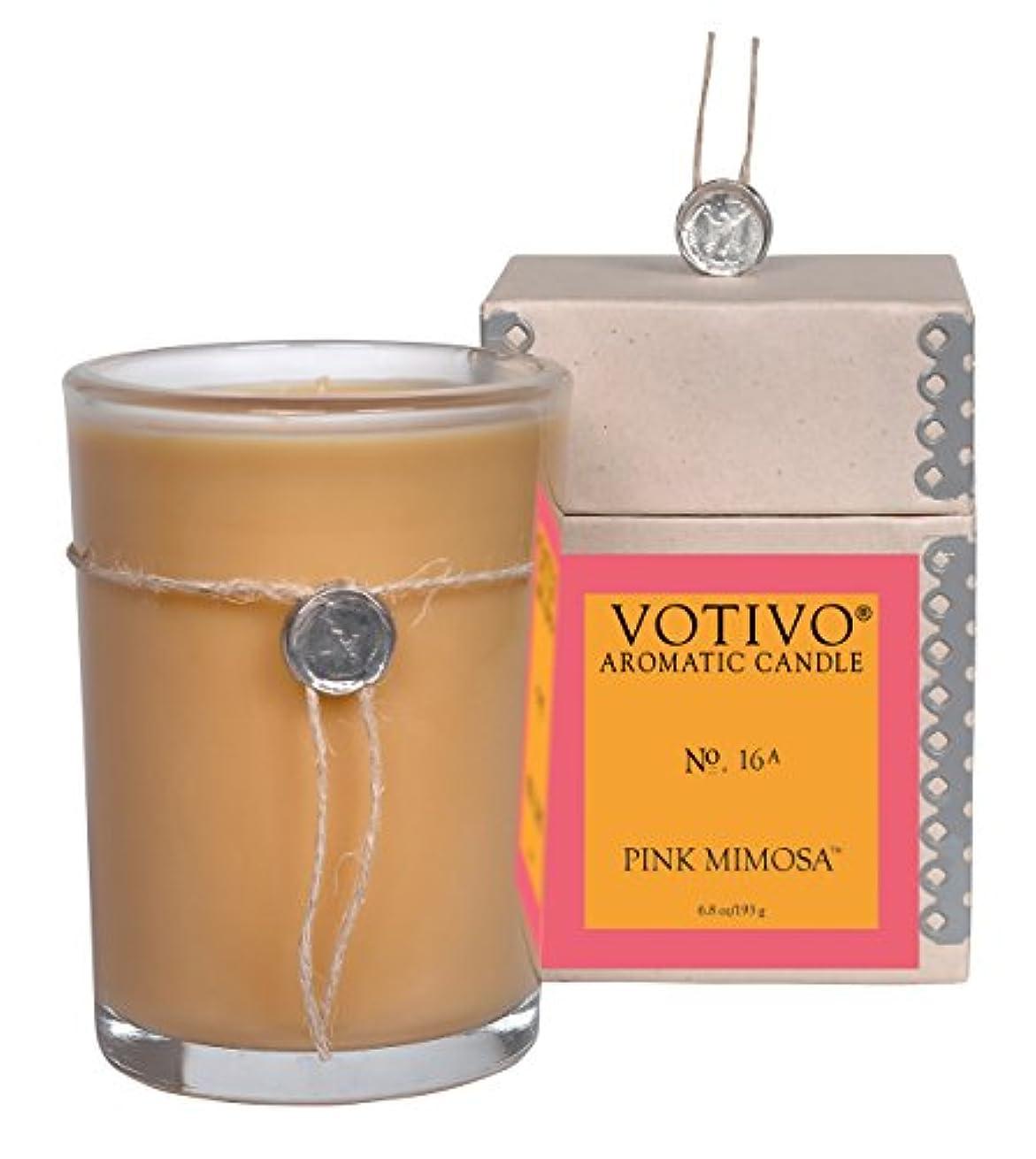 夜明け低下バスルームVOTIVO アロマティック グラスキャンドル ピンクミモザ