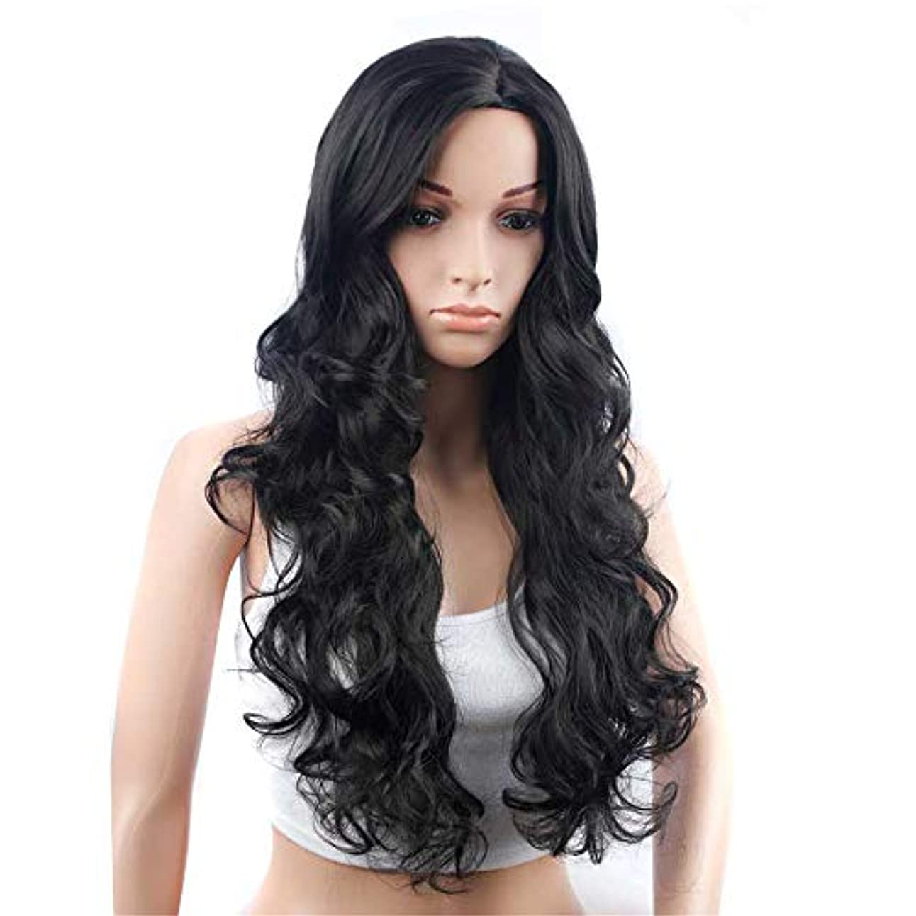 対機械的に滝ウィッグロングウェーブブラックカラーロングウェーブ人工毛高温繊維ヘアスタイル女性用髪の毛ナチュラルミドルパート耐熱ヘアプレイ、ハロウィン23インチ