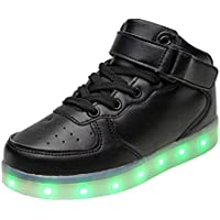 Kid's High Top USB Charging Flashing Sneakers Night LED Light Up Sports Dancing Shoes