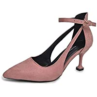 Pointed Stiletto Heels Single Shoes Female Buckle with High Quality Leather (Color : Pink, Size : 38)