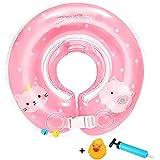 Lelestar ベビー用 浮き輪 お風呂 うきわ首リング 赤ちゃんのトレーニングに 調節ベルト付き (L, ピンク)