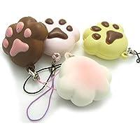 4pcs Kawaii Squishy Mini Bear Cat Paw Bread電話チャームバッグストラップKids Squeeze Toyギフト