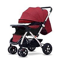 高い景色のベビーカーはリクライニングの軽量の折り畳み式の4つの車輪の衝撃吸収材の赤ん坊のベビーカーの赤ん坊の子供のトロリーに座ることができます,C
