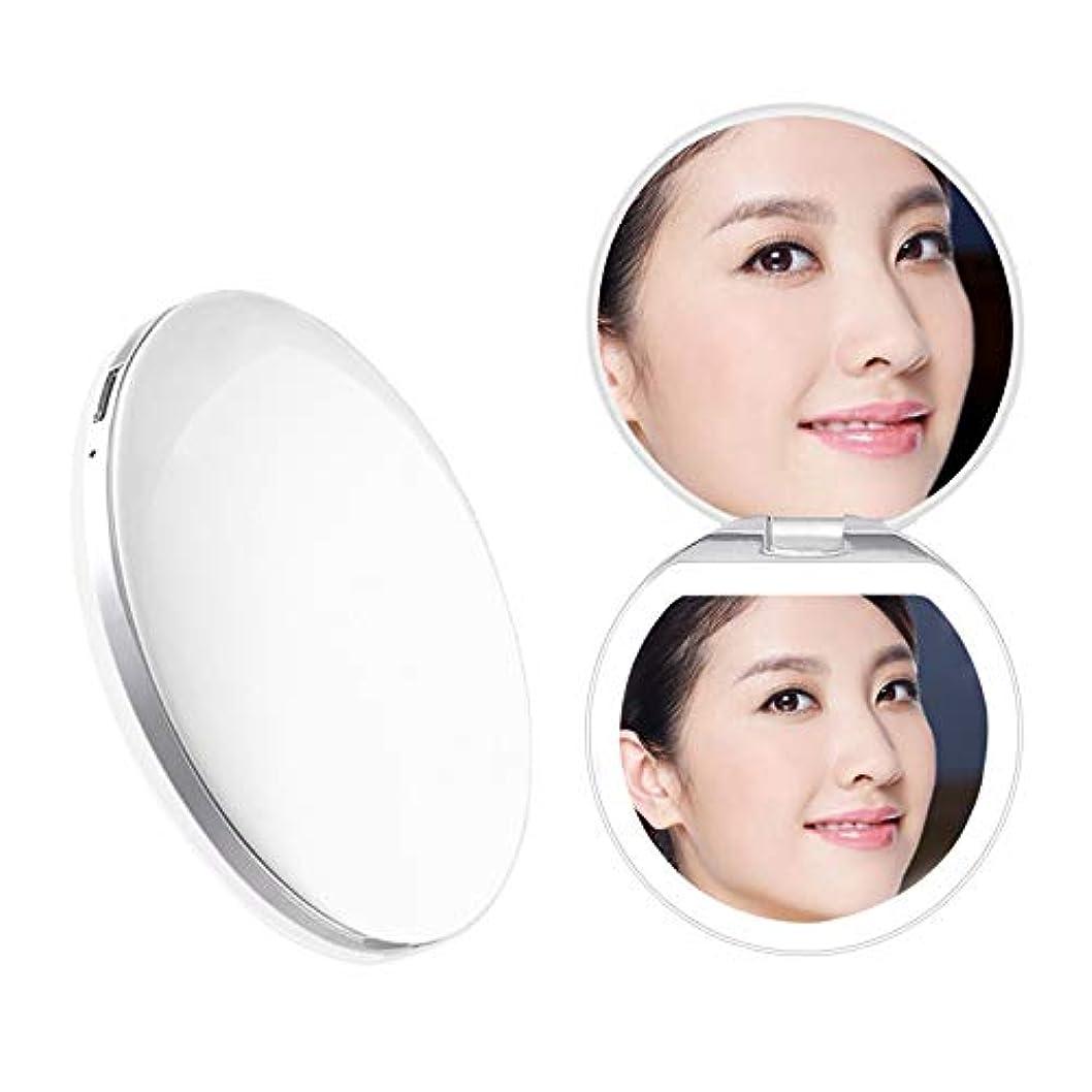 チラチラする比較程度Heartyfly 携帯ミラー 鏡 LED手鏡  二面鏡 折り畳み式化粧鏡 メイクアップミラー usb充電 3倍拡大 持ちやすい 便利 (ピンク)