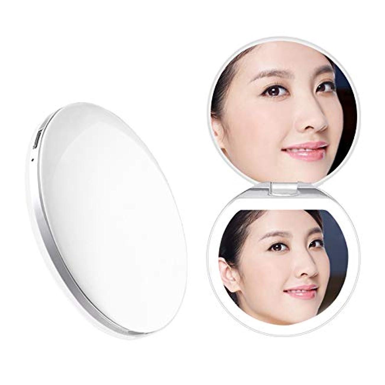 思い出す大理石受粉者Heartyfly 携帯ミラー 鏡 LED手鏡  二面鏡 折り畳み式化粧鏡 メイクアップミラー usb充電 3倍拡大 持ちやすい 便利 (ピンク)