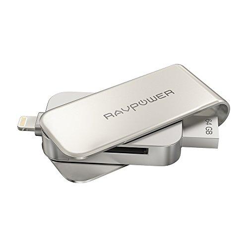 ライトニング USB メモリー RAVPower フラッシュドライブ iPhone メモリー Apple認証 MFI 取得済み iPhone iPad iPod用 コネクター付 64GB RP-IM004