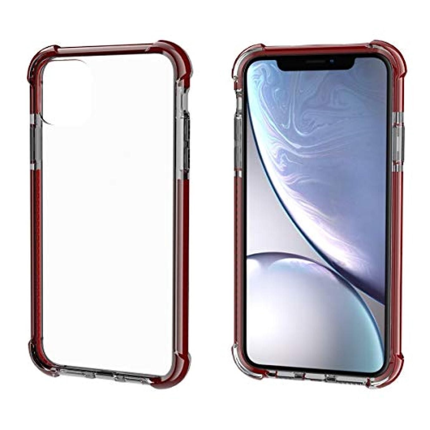 基準追う単語HAONANA ビジネススリムフィット IPhone 11携帯電話ケース、透明保護カバー、TPUバンパー、耐スクラッチ、薄い携帯電話保護カバー、かわいい保護カバー、補強コーナー、耐衝撃保護カバーに適しています (Color : Crimson)