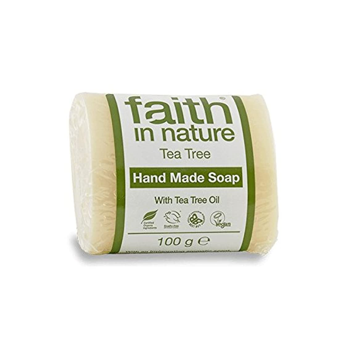 あえぎもししゃがむFaith in Nature Tea Tree Soap 100g (Pack of 6) - 自然のティーツリーソープ100グラムの信仰 (x6) [並行輸入品]