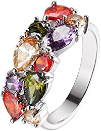 Gemstone Ring Morganite Garnet Amethyst Peridot 925 Silver for Women, Girl 6 7 8 9 10