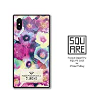 iPhone8 ケース 強化ガラスケース iPhone7 ケース 背面ガラス TPU 光沢 ツヤ スクエア スマホケース おしゃれ ぼかし花柄 花柄 Flower Diamond 可愛い 大人可愛い B