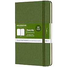 Moleskine Two-Go Notebook, Medium, Ruled-Plain, Grass Green Hard Cover (4.5 X 7)