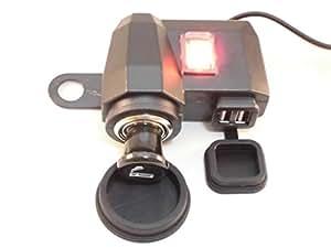 バイク用 USB2ポート大容量(合計2.1A)+シガーソケット 安心のヒューズ付き 電源スイッチ付きでバッテリー上がり防止 iPhone iPad スマートフォン ポータブルナビ 充電 防水 ミラー取り付け スクーター