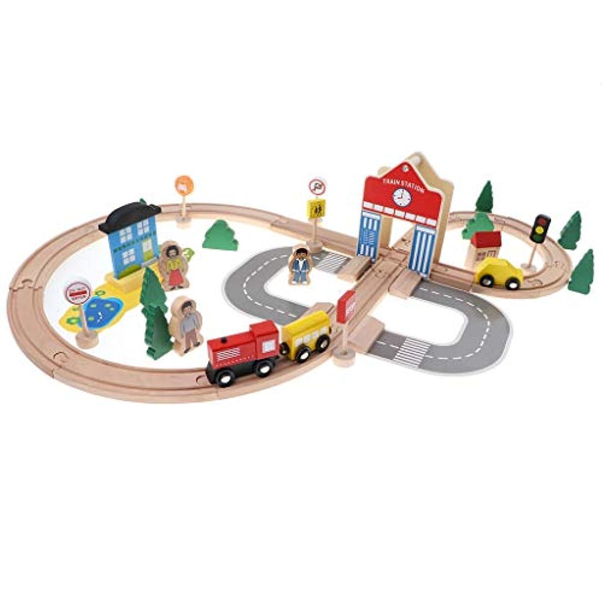 喜んで老朽化したアリーナToygogo 50ピース/個デラックス解体木造都市交通列車鉄道線路ブロックスタッキングセット子供教育玩具ロールプレイ活動
