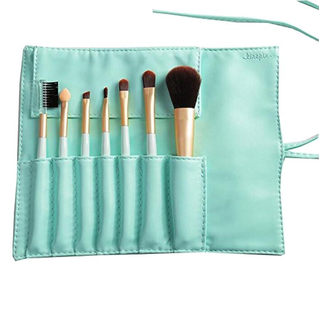顕現アルミニウム代わりにを立てる7つの化粧品のセットフェイスブラッシュ輪郭ファンデーション化粧ブラシキット