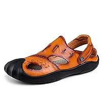 [eleitchtee] サボサンダル レザー メンズ 革 靴 2WAY バックストラップ ヘップサンダル(28cm 1809ブラウン)