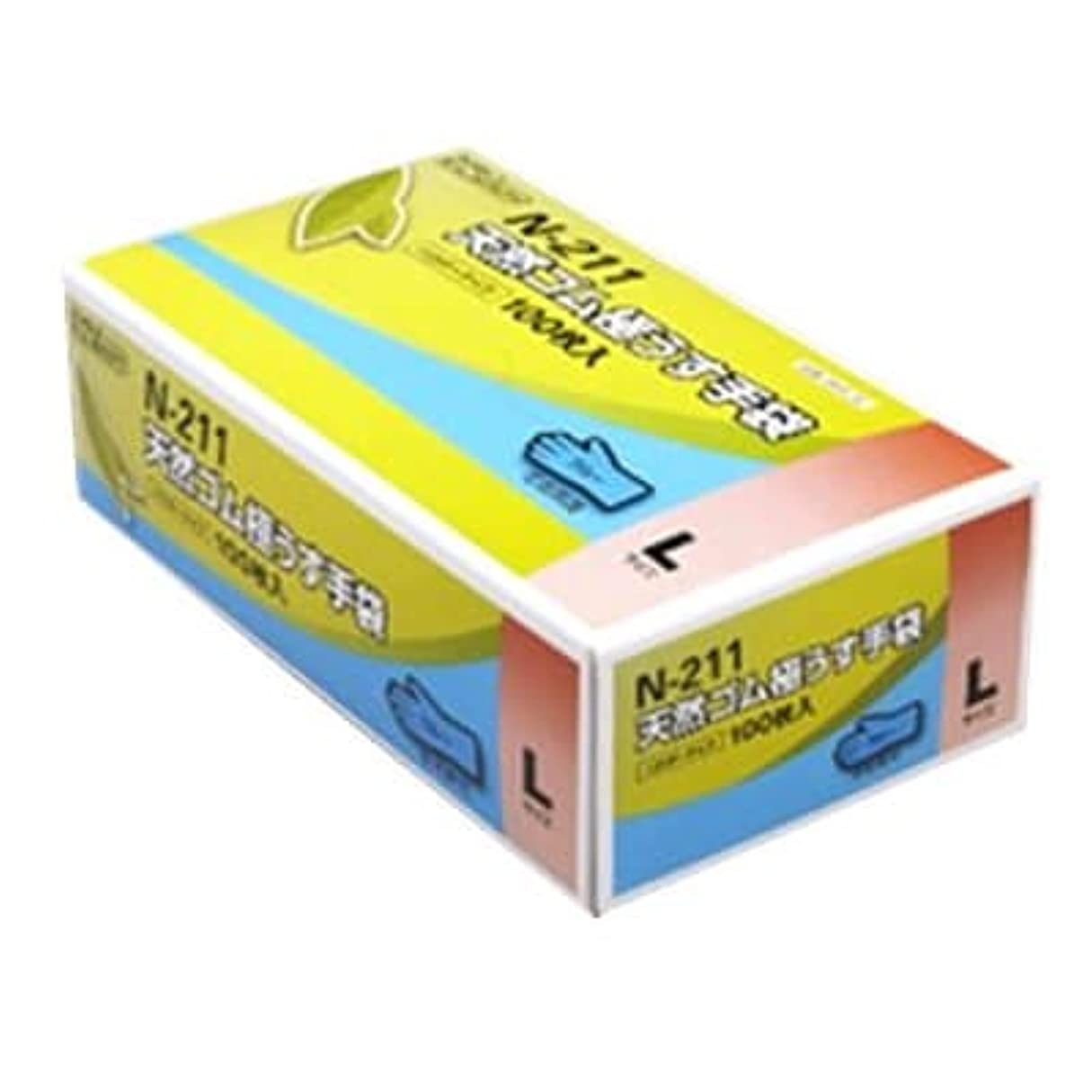 終わらせるゴネリル北方【ケース販売】 ダンロップ 天然ゴム極うす手袋 N-211 L ブルー (100枚入×20箱)