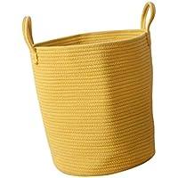 F Fityle ランドリーバスケット 収納 バスケット 安全 健康 頑丈 全3色2サイズ   - イエロー, L