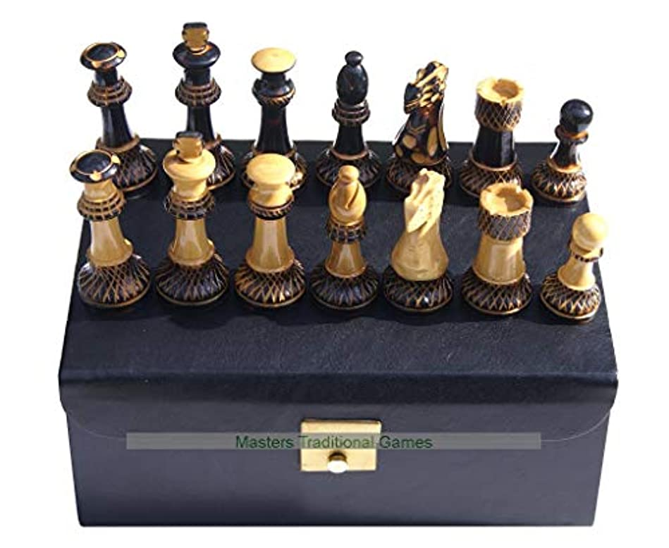 Jester 10 x 10 Chess Set - Burnt Wood Pieces in Leather Box