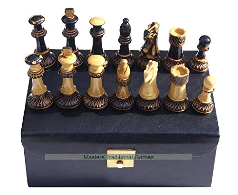 入力医師ショートJester 10 x 10 Chess Set - Burnt Wood Pieces in Leather Box
