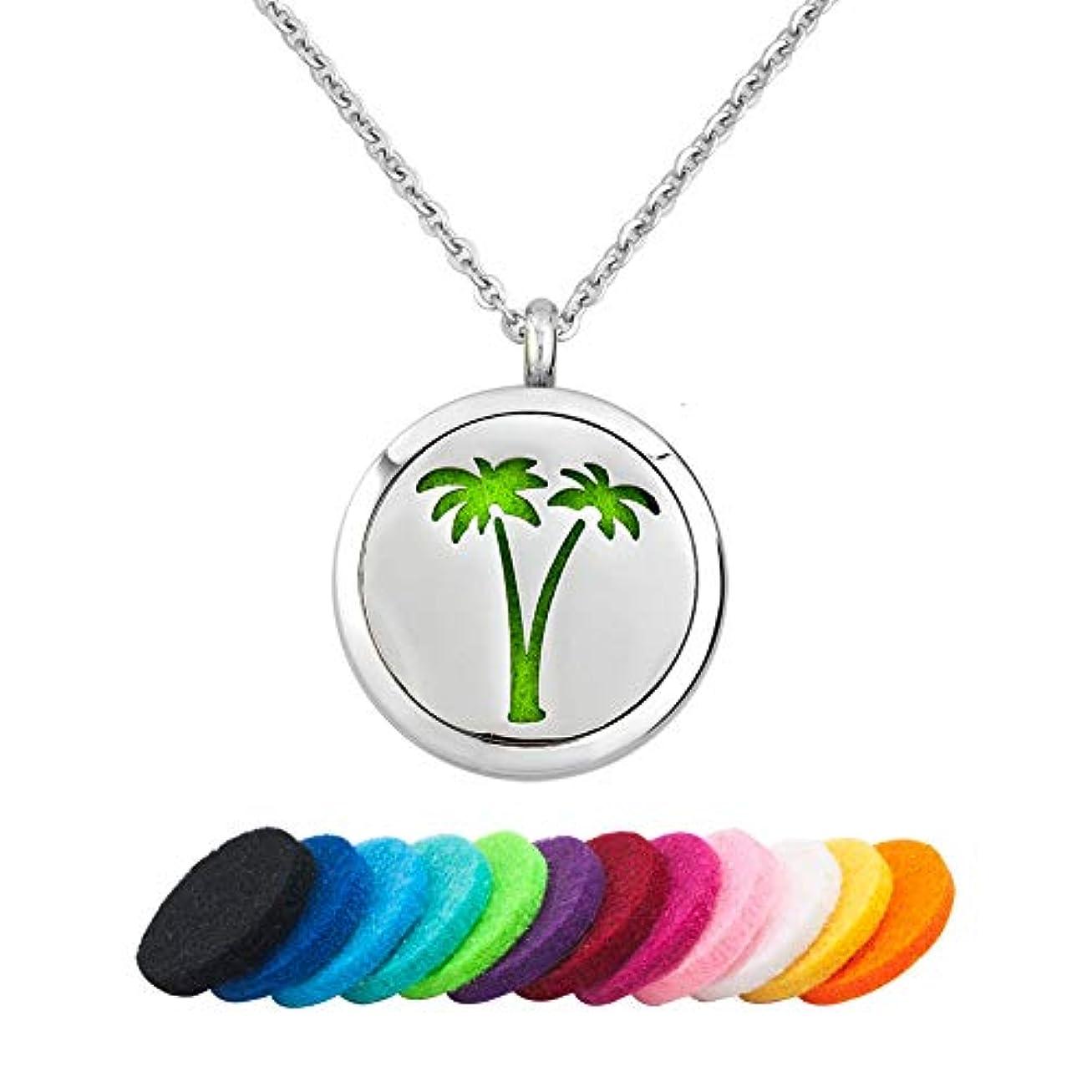 軽減爆弾場合CLY Jewelry Love Nature Winds ファイヤーメープルクローバー ヤシの木 マッシュルーム アロマセラピー エッセンシャルオイルディフューザー ネックレスペンダント 12パッド