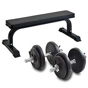 G-Body ダンベル 10kg 2本セット 20kg & トレーニング用 フラットベンチ AM00001400