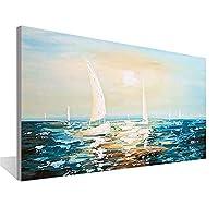 美恵子 セーリングボートは、Officeウォールアートベッドルーム手描きの油絵キャンバス絵画絵画ナイフキャンバス絵画 (Color : White, Size (Inch) : 70x140cm)