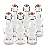 TeiKis 16oz Kombucha/Beer Bottles (6 Pack|Clear) with Easy Cap (Better Grip - Non Slip)