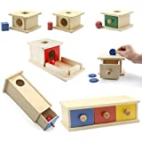 JJSFJH Montessori Drawer Box Object Performance Box Early Learning Educational Toys For Toddlers Wooden Montessori Material M