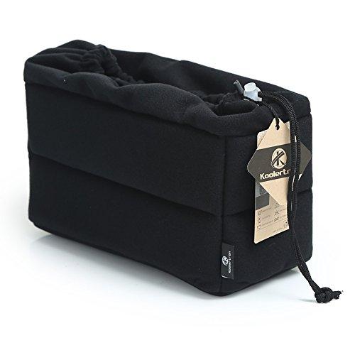 Koolertron 一眼レフ対応 インナーカメラバッグ「そのままバッグに入れられる」インナーバッグ/インナーケース 自由に調節可能な間仕切り付きでしっかり収納&ホコリをガード (ブラック)