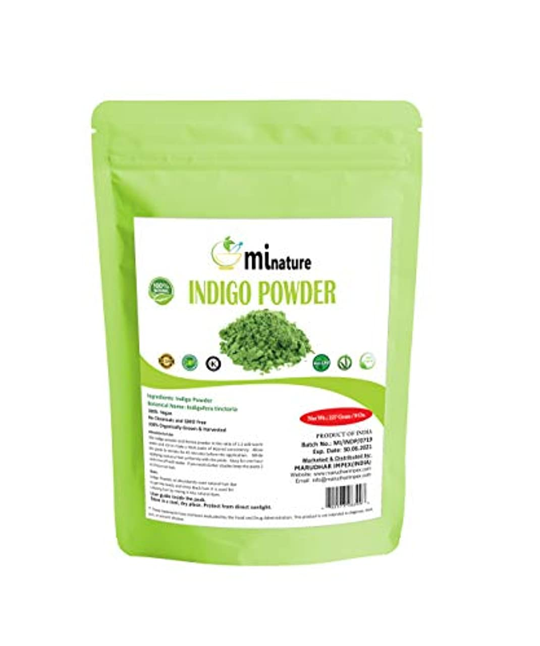暗殺者嵐グラディスmi nature Indigo Powder -INDIGOFERA TINCTORIA ,(100% NATURAL , ORGANICALLY GROWN ) 1/2 LB (227 grams) RESEALABLE...