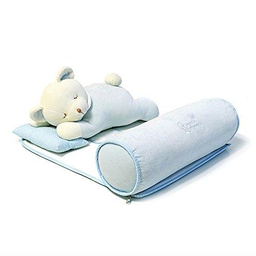 Lifbetter 赤ちゃん 寝返り 防止 クッション ベビー枕 うつ伏せ寝防止 頭 形 矯正 向き癖対応 調整可能 洗濯 可能ベビーピロー 赤ちゃん の眠りを安心サポート 0-3歳 (ブルー 熊)