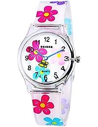 Zeiger キッズ 子供用腕時計 かわいい クオーツ時計 アラビア数字 防水 KW081(ホワイト)