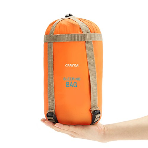 CAMTOA アウトドアシュラフ 寝袋 封筒型 シュラフ 超軽量 ミニ収納 190 x 75cm キャンプシュラフ アウトドア キャンプ 登山 車中泊 丸洗い 収納袋付き オレンジ