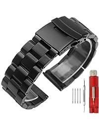 20mm 時計バンド ステンレス ベルト 20mm ブラック 腕時計バンド ブレスレット メンズ 時計 尾錠 バックル 交換ベルト