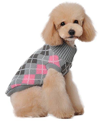 (マルペット)MaruPet 誕生日 聖夜 秋冬 ペットウェア犬服猫服 おしゃれ チェック 柄 ペットウェア ドッグウエア 小型犬用品 かわいい犬の服 ニットセーター トイプードル/ダックス/マルチーズ/シュナウザー/シーズー等の小型犬 グレー L
