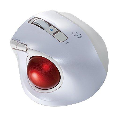 Digio2 Q 小型 トラックボール Bluetoothマウス 静音 5ボタン ホワイト 48378